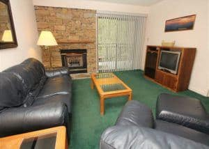 The charming living room in a downtown Gatlinburg condo.