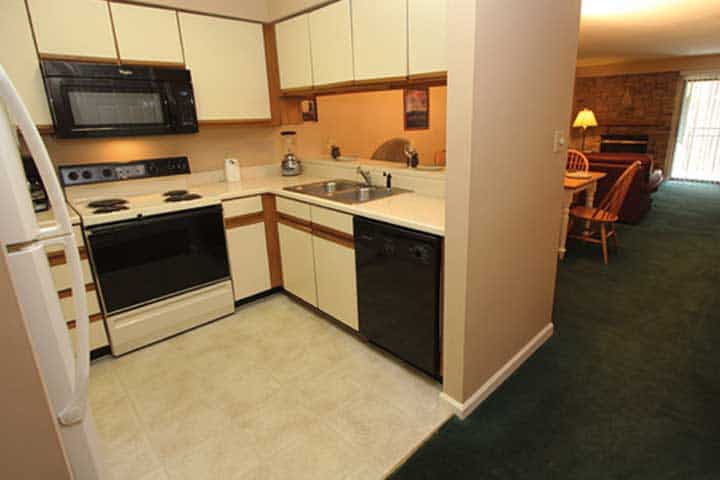 The kitchen of one of our Gatlinburg condos for rent.