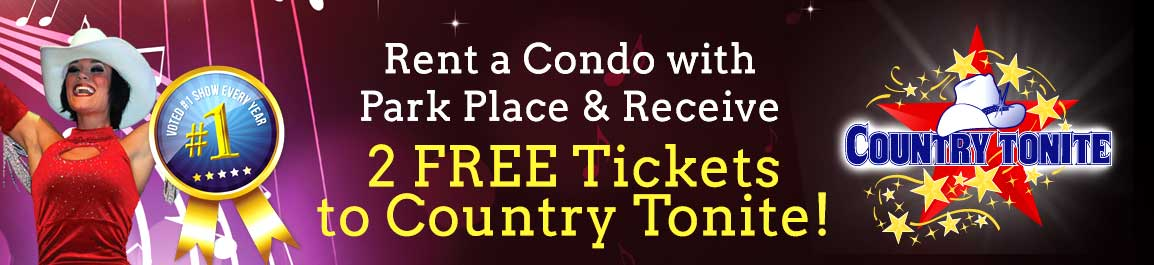 Banner advertising free Country Tonite tickets for guests at our Gatlinburg condos.