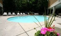 The beautiful outdoor swimming pool at Park Place Condos in Gatlinburg, TN.