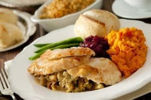 Traditional Thanksgiving plate of food
