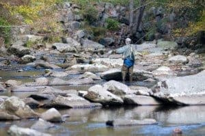 Fly fishing in Gatlinburg stream