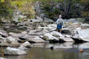 man fishing in the smoky mountains